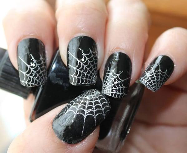 Spider Web Marble Nail Art
