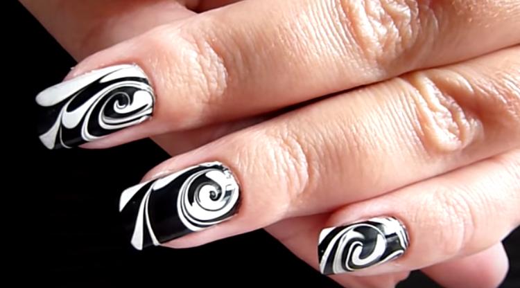 Spiral Marble Nail Art Pattern