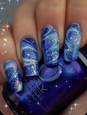 Starry Night Marble Nail Polish