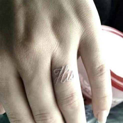 Tattoo Wedding Rings White Ink