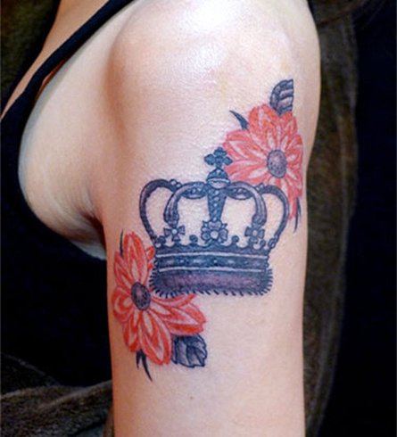 Crown Tattoo on Shoulder