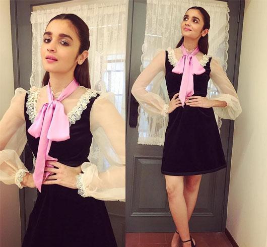 Alia Bhatt With Pussy bow collar dress