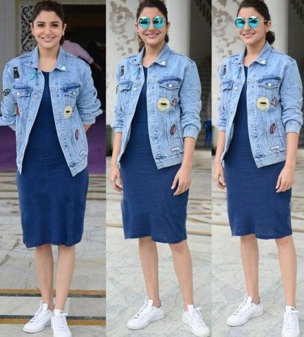 Anushka Sharma wearing a Pull and Bear Jacket