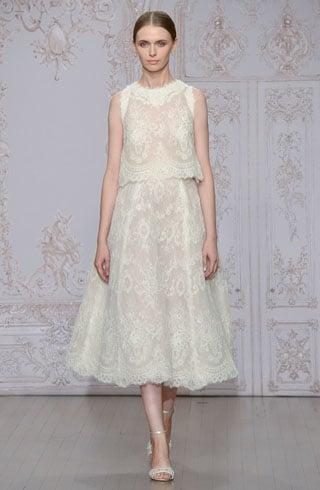 Champagne-tea length wedding dresses