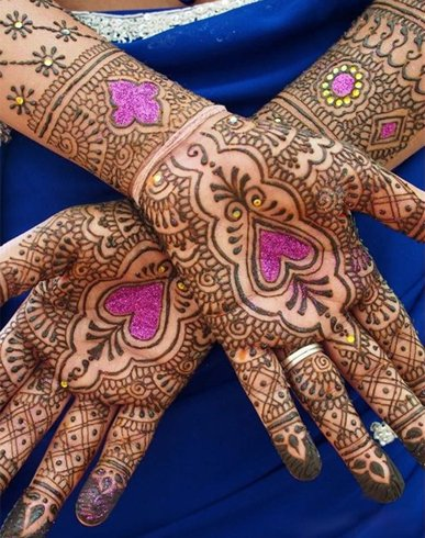Colored Hearts Heart Mehndi Designs