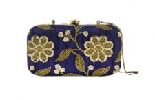 Dark Blue Zari Embroidered Box Clutch