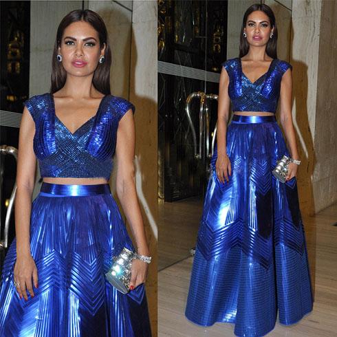 Esha Gupta in electric blue metallic separates