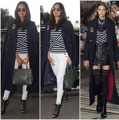 Esha Gupta keeping herself warm wearing a Tommy long overcoat