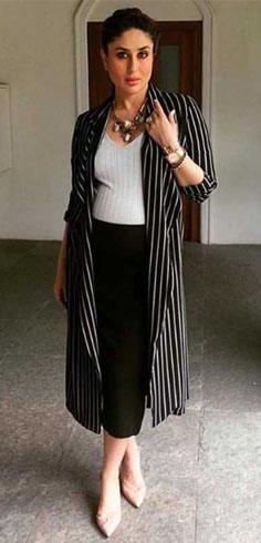 Kareena Kapoor layered her basics with a starry long layering from Remami
