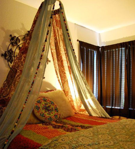 Old saris can also make for a great home decor