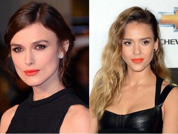 Orange lipstick for black dress