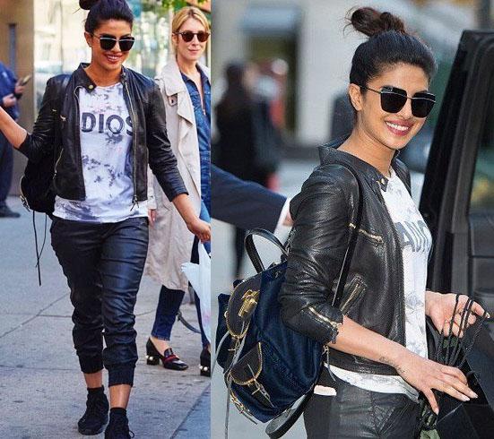 Priyanka carrying her black Giuseppe Zanotti backpack