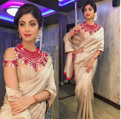 Shilpa Shetty With Cold-shoulder blouse.