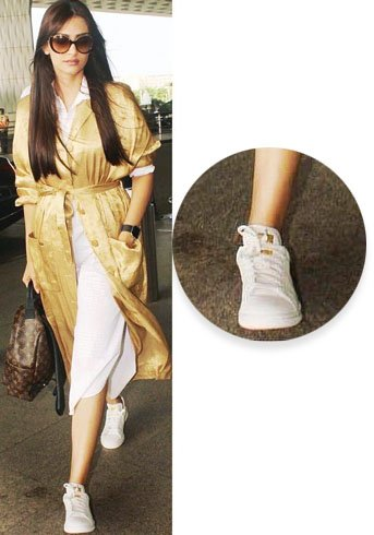 Sonam Kapoor Adds With Adidas Gold Sneakers