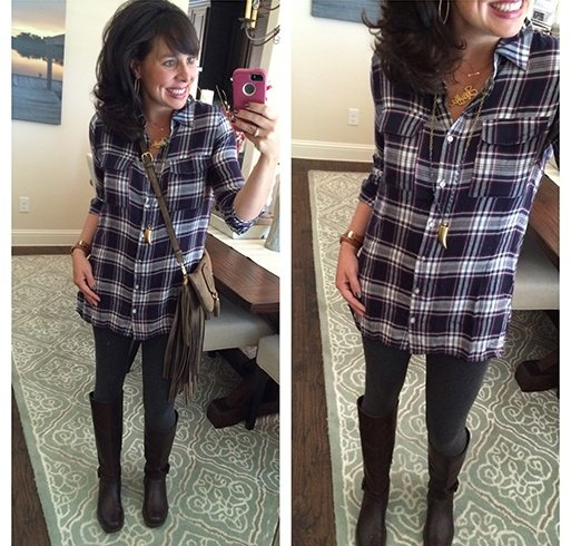 Plaid Shirt With Leggings Ideas for Womens