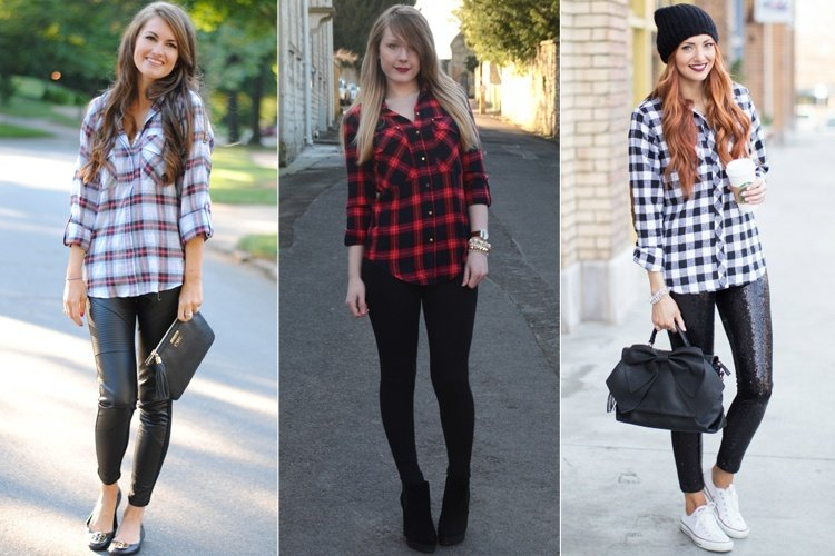 Plaid Shirt With Leggings
