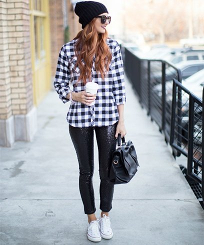 Womens Plaid Shirt With Leggings