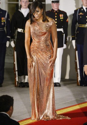 Michelle obama gold dress