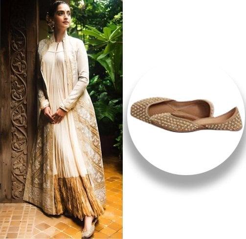 Sonam Kapoor sporting this Needledust juttis