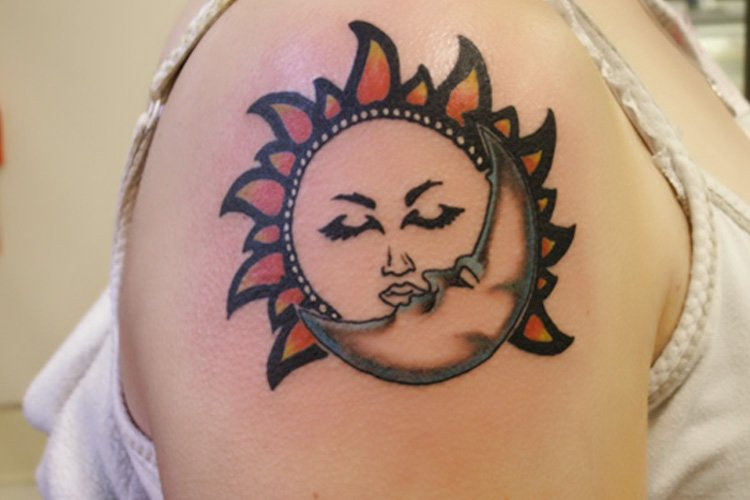 Sun and moon tattoo