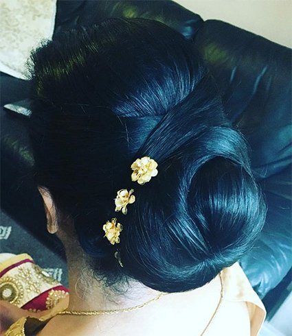 Criss Cross Flower Accented Bun