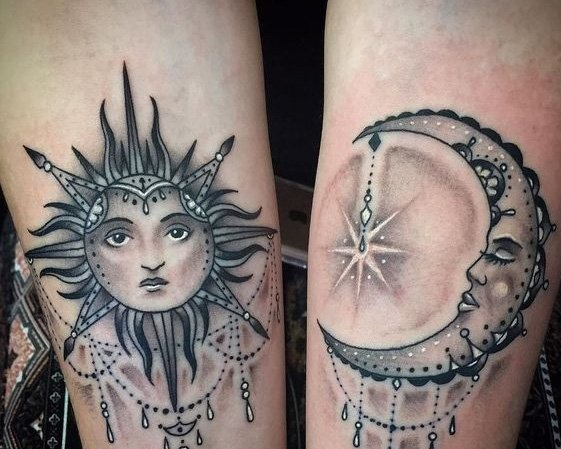 Perfect shaded sun and moon tattoo