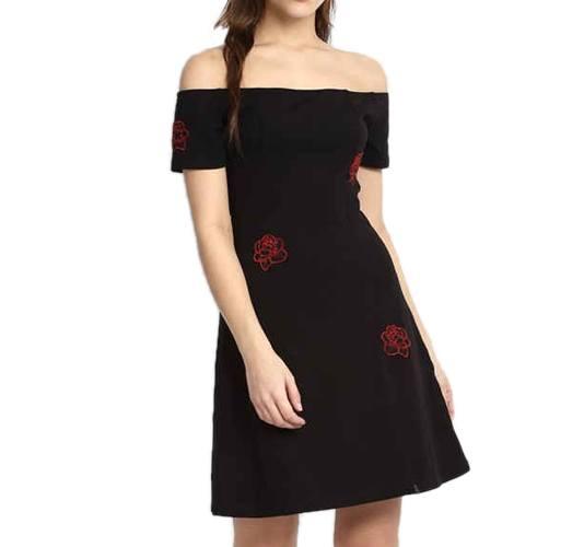 Black Hermina Embroidered Off Shoulder Skater Dress