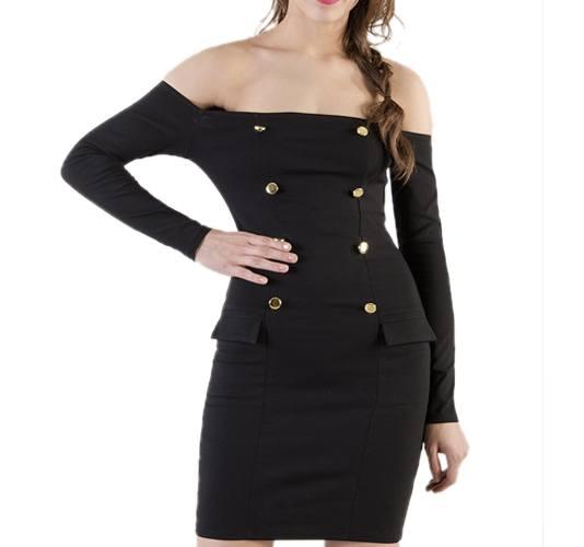 Black Off Shoulder BodyCon Dresses