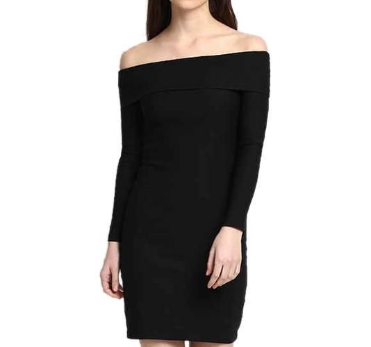 Black Sara Off Shoulder Bodycon Dress