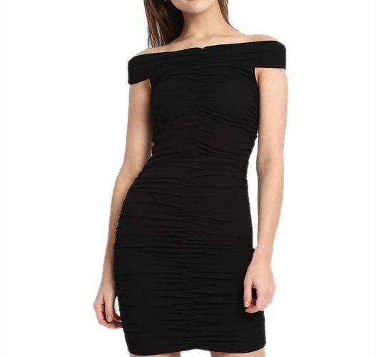 Black Zandra Off Shoulder Bodycon Dress