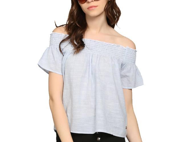 Blue & White Striped Regular Fit Bardot Top