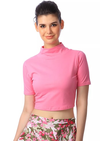 Cation Pink Solid Crop Top