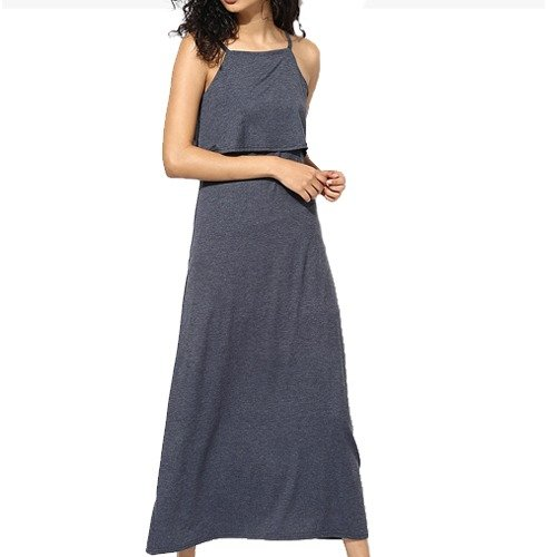 Dark Grey Coloured Solid Maxi Dress