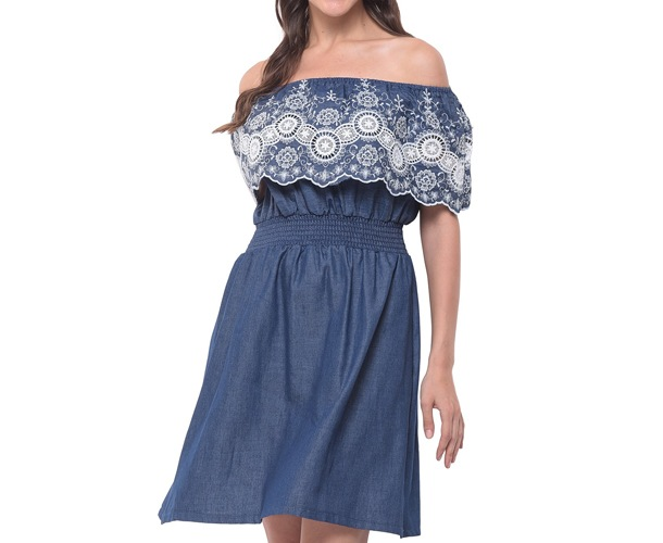 Denim Blue Off The Shoulder Skater Dress