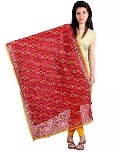 Embroiderd Red Chanderi Dupatta