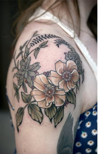 Floral Wreath Tattoo