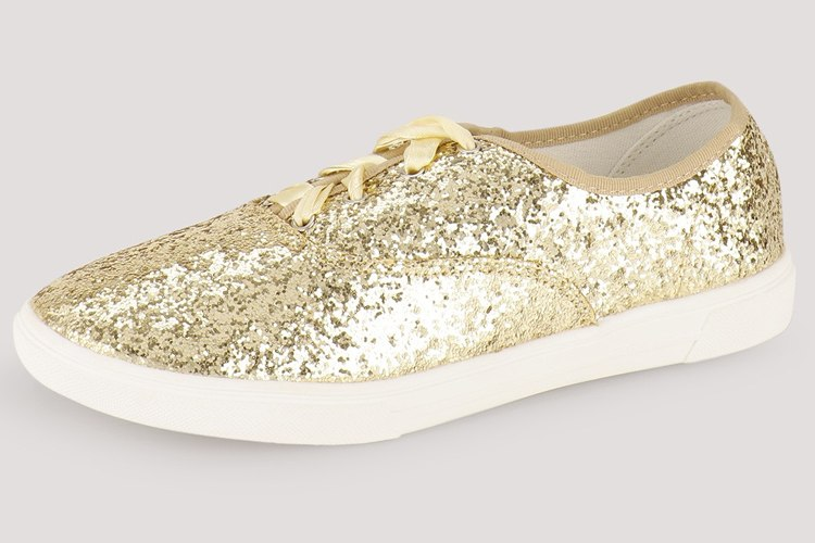 Glitter Ribbon Lace Up Trainers