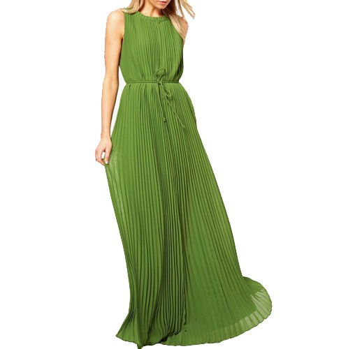 Green Coloured Solid Maxi Dress