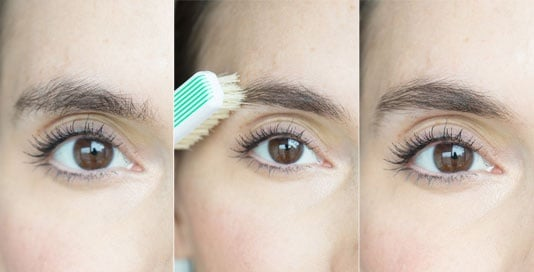 How to use toothbrush on eye-brow
