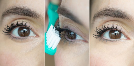 How to use toothbrush on eyes