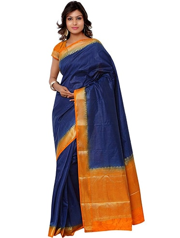 Janasya Navy Silk Saree