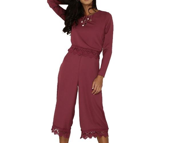 Lace Hem Long Sleeve Playsuit