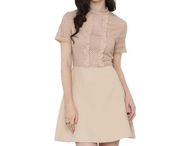 Lace Ruffle Top Skater Dress