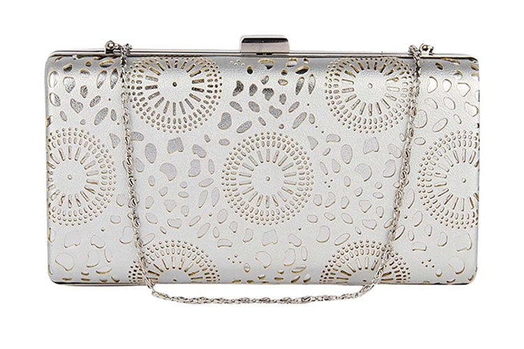 Lino Perros White Faux Leather Box Clutch