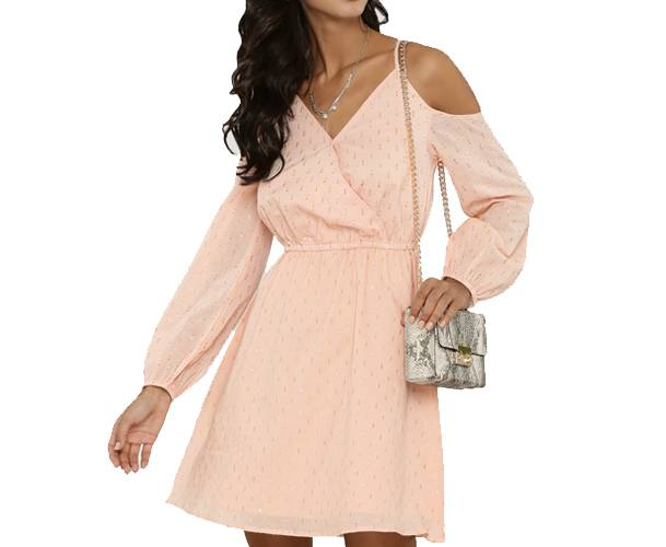 Lurex Spotted Cold Shoulder Dress