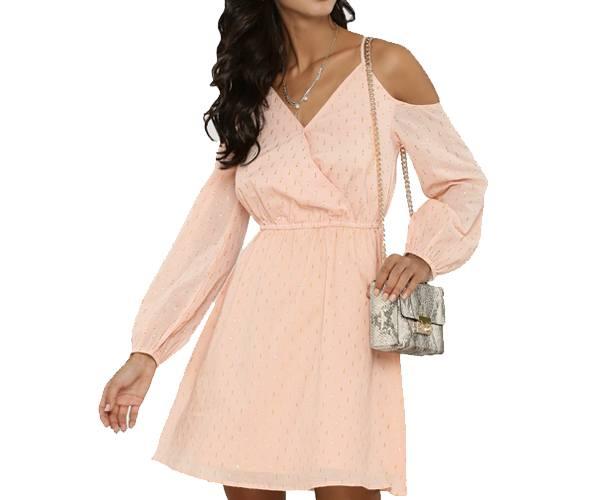 Lurex Spotted Cold Shoulder Dress