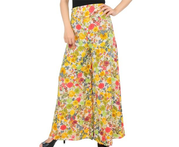 Multicolored Floral Printed Polyester Crepe Palazzos