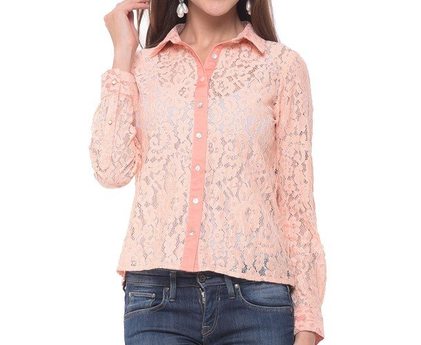 Pink Lacey Button Down Shirt
