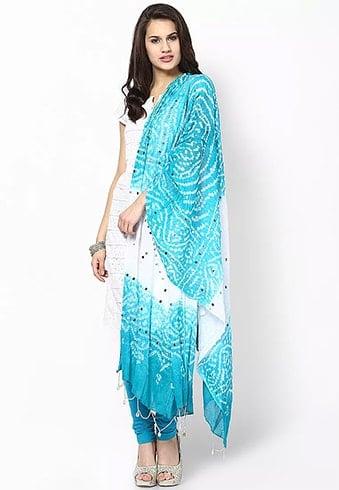 Printed Turquoise Cotton Dupatta