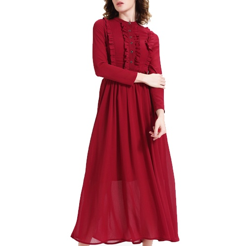 Red Coloured Solid Maxi Dress